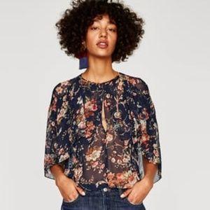 HOST PICK! Zara Floral Print Cape Blouse